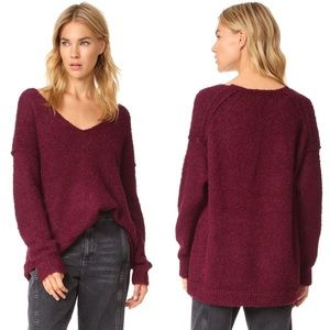 Free People Oversized V-Neck Slouchy Knit Sweater Chunky Size Small